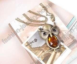 Fashion retro bronze Acryl amber crystal owl necklace pendant