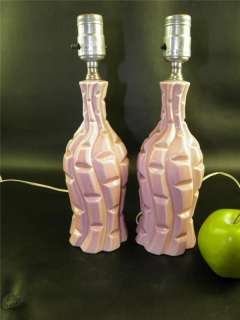 ANTIQUE PAIR OF PINK GLAZED POTTERY BOUDOIR LAMPS