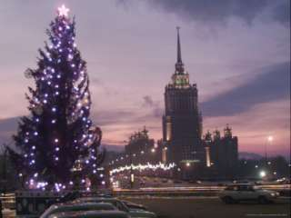 Christmas Tree with the Grand Stalin Era Building of the Ukraina