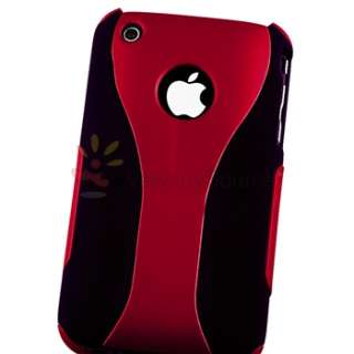 RED BLACK 3 PIECE HYBRID HARD CASE SKIN COVER FOR APPLE IPHONE 3G 3GS