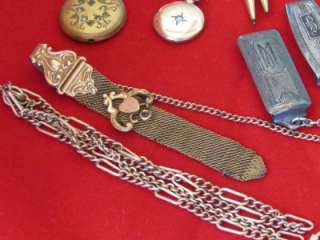 VICTORIAN JEWELRY COLLECTION LOT Gold Filled Pins WATCHES FOBS CAMEOS