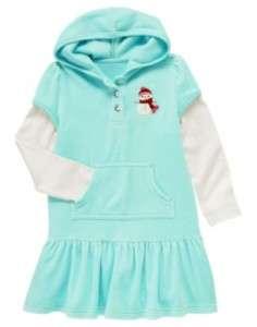 Gymboree Cozy & Cute Snowman Velour Double Sleeve Hoodie Dress New 3 4