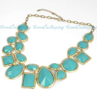 Vintage Golden Chain Circle Water Drop Sea Blue Acrylic Beads Pendant