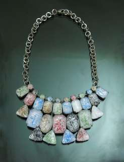 Very Unique Rock silver Tone Chunky Jewel Bib Necklace Colorful 17inch