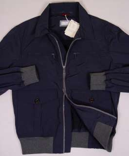 CUCINELLI COAT $1,695 DARK BLUE DUAL ZIP LIGHT JACKET LARGE 52e NEW