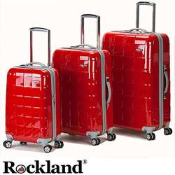 Rockland Elite Designer Red 3 piece Hardside Spinner Luggage Set