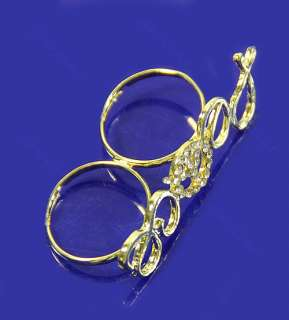 Fashion Exquisite Two Fingers Golden Crystals Peace Sign Ring