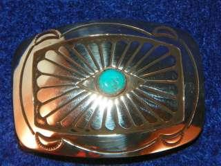 Southwest Sterling Silver Turquoise Native Belt Buckle NIB