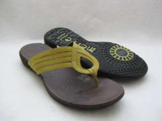 NEW MERRELL LIDIA WOMENS YELLOW LEATHER FLAT THONG SANDAL SHOE SIZE