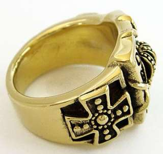 HEAVY CROWN CROSS GOLD BRASS BIKER ROCK MENS RING 10.75