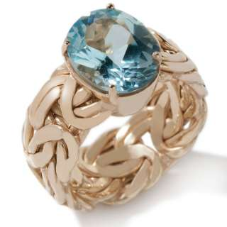 Technibond Byzantine Blue Topaz Ring 14K Yellow Gold Clad Silver