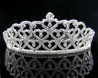 Wedding/Bridal crystal veil tiara crown headband CR180