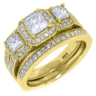 ENGAGEMENT RING WEDDING BAND BRIDAL SET PRINCESS YELLOW GOLD
