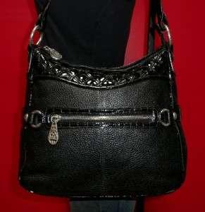 BRIGHTON Black Leather Shoulder Hobo Tote Satchel Purse Bag