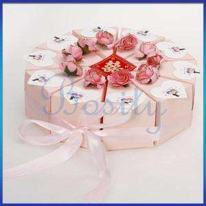 10 Slice Pink Cake Slice Box Baby Shower Wedding Favor Box Centerpiece