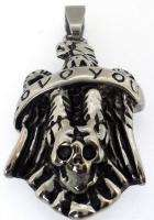 Skull Head Love You Mens Vintage Silver Solid Stainless Steel Pendant