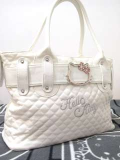 Hello Kitty white leather like tote bag handbag purse