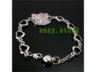 HELLO KITTY MULTI HEART CRYSTAL CHARM BRACELET L7