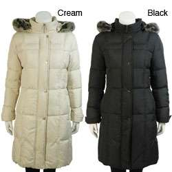 UTEX Womens Faux Fur Hooded Down Coat