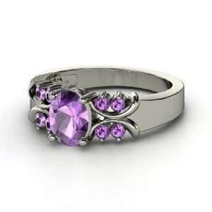 Gabrielle Ring, Oval Amethyst Sterling Silver Ring Jewelry