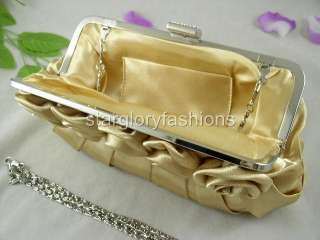 Fabulous Gold Satin Roses Pleated Wedding Clutch Rhinestones EC 09238