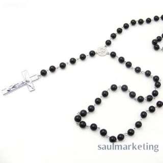 Fashion Mens Beckham Cross Pendant Black Rosary Beads Necklace Easter