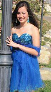 SKY BLUE PROM QUINCE HOMECOMING DANCE COCKTAIL DRESS SZ 4