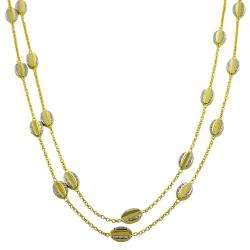 14k Two tone Gold Bean Station Necklace