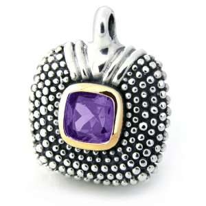 Cushion Amethyst Gemstone Mexican Sterling Silver Pendant Jewelry