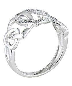 10k White Gold Diamond Interlocking Hearts Ring (H I,I1 I2