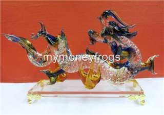 Oriental Chinese Lucky Clear Glass Hand Made Craft Feng Shui Dragon