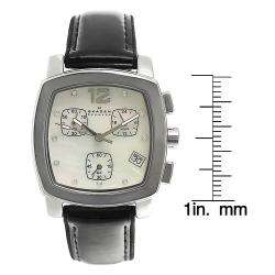 Mother of Pearl Chronograph Black Leather Strap Watch