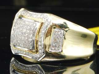 YELLOW GOLD ROUND PAVE DIAMOND PINKY RING CURVY ENGAGEMENT BAND