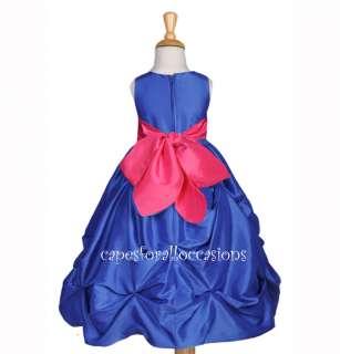 ROYAL BLUE FUCHSIA PINK BRIDAL GIRL DRESS 6M 2 4 6 8 10