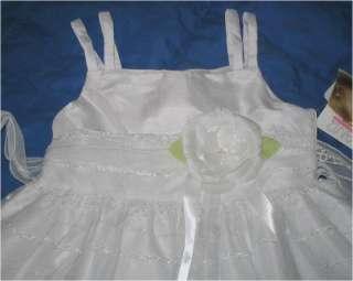 NWT WEDDING PARTY WHITE FANCY TULLE SILKFLOWER DRESS 6X