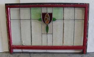 Large Antique Stained Glass Window Arts n Crafts Rose