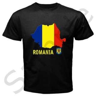 Romania Romanian Flag Map Emblem Black T shirt