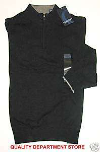 NEW MENS CONSENSUS BLACK ZIPPER NECK SWEATER SIZE XXL |