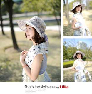 Women Lady Fashion Bowknot Sun Cap Wide Brim Beach Hat