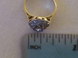 EDWARDIAN 18CT GOLD PLATINUM DIAMOND CLUSTER RING