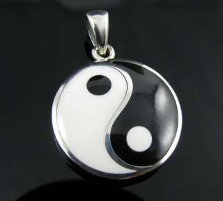 925 Sterling Silver Black and White Yin Yang Pendant