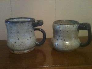 Two Custom Ceramic Coffee Mugs w/Thumb Holders Gray w/Blue Trim