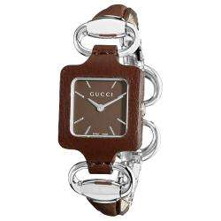 Gucci Womens 1921 Bangle Style Brown Leather Watch