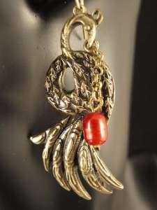 Ethnic Vintage Copper Style Peacock Dangle Earrings C528