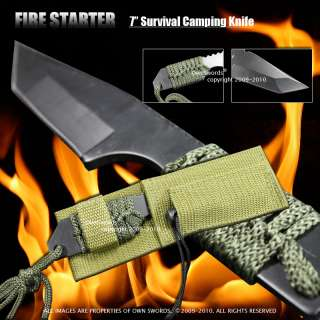FULL TANG Fire Starter Flint Hunting Camping Knife