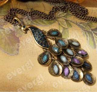 Vintage Retro Bronze Peacock Crystal Long Necklace Earrings
