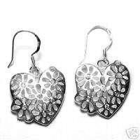 925 Sterling Silver CZ ~FLOWER HEART~ Dangle Earrings
