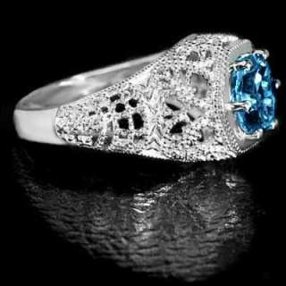 RARE ROUND BLUE TOPAZ VINTAGE FILIGREE COCKTAIL RING NR