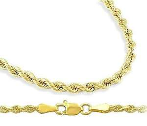 Mens Womens Chain 14k Yellow Gold Rope Necklace Solid Diamond Cut 1mm