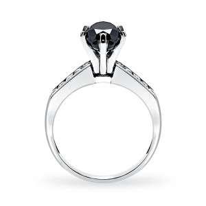 05 CTW BLACK PEAR SHAPE DIAMOND WEDDING RING 14K SOLID WHITE GOLD